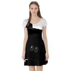 Peeping German Shepherd Bi Color  Short Sleeve Skater Dress