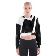 Peeping German Shepherd Bi Color  Women s Cropped Sweatshirt