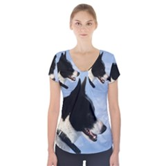 Karelian Bear Dog Short Sleeve Front Detail Top