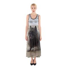 Keeshond On Beach  Sleeveless Maxi Dress