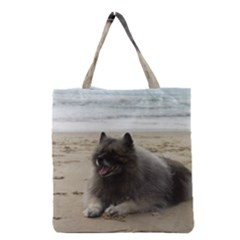 Keeshond On Beach  Grocery Tote Bag