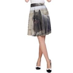 Keeshond On Beach  A-Line Skirt