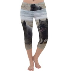 Keeshond On Beach  Capri Yoga Leggings