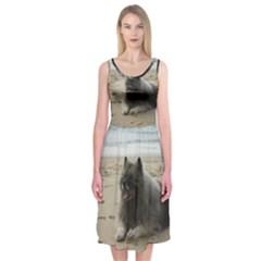 Keeshond On Beach  Midi Sleeveless Dress