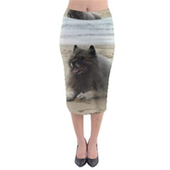 Keeshond On Beach  Midi Pencil Skirt