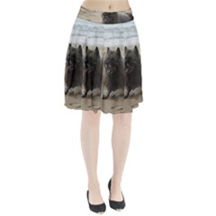Keeshond On Beach  Pleated Skirt