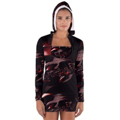 Fractal Mathematics Abstract Women s Long Sleeve Hooded T-shirt