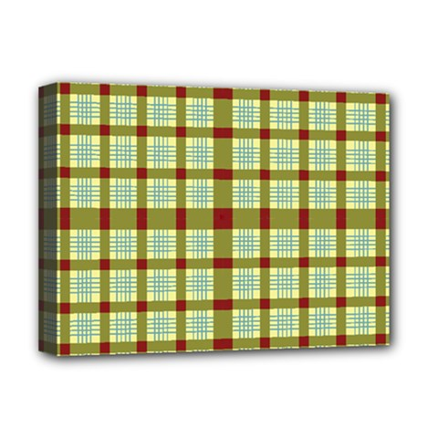 Geometric Tartan Pattern Square Deluxe Canvas 16  x 12