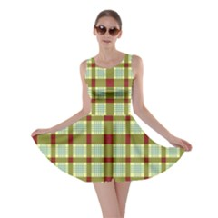 Geometric Tartan Pattern Square Skater Dress