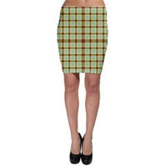 Geometric Tartan Pattern Square Bodycon Skirt