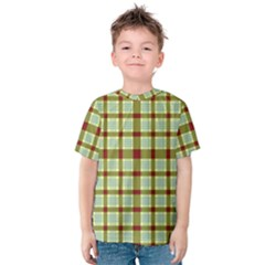 Geometric Tartan Pattern Square Kids  Cotton Tee