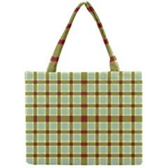 Geometric Tartan Pattern Square Mini Tote Bag