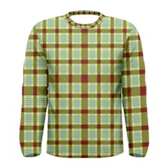 Geometric Tartan Pattern Square Men s Long Sleeve Tee