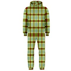Geometric Tartan Pattern Square Hooded Jumpsuit (Men)