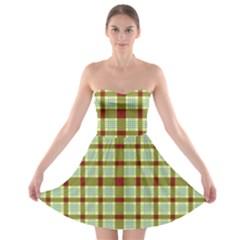 Geometric Tartan Pattern Square Strapless Bra Top Dress
