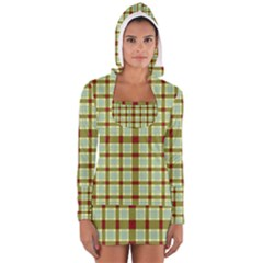 Geometric Tartan Pattern Square Women s Long Sleeve Hooded T-shirt