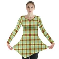 Geometric Tartan Pattern Square Long Sleeve Tunic