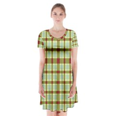 Geometric Tartan Pattern Square Short Sleeve V-neck Flare Dress