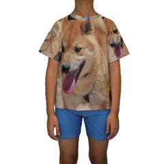 4 Shiba Inu Kids  Short Sleeve Swimwear