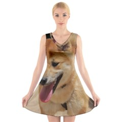 4 Shiba Inu V-Neck Sleeveless Skater Dress