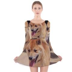 4 Shiba Inu Long Sleeve Velvet Skater Dress