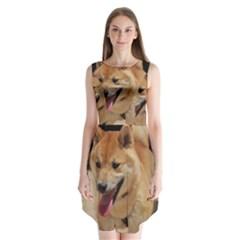 4 Shiba Inu Sleeveless Chiffon Dress