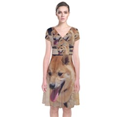 4 Shiba Inu Short Sleeve Front Wrap Dress