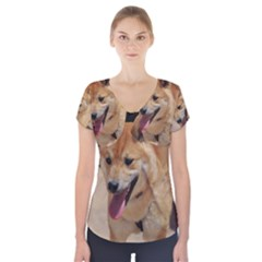 4 Shiba Inu Short Sleeve Front Detail Top