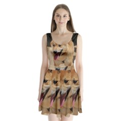 4 Shiba Inu Split Back Mini Dress