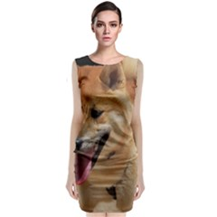 4 Shiba Inu Sleeveless Velvet Midi Dress