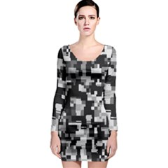 Noise Texture Graphics Generated Long Sleeve Bodycon Dress