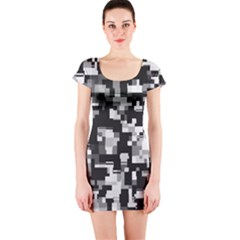Noise Texture Graphics Generated Short Sleeve Bodycon Dress