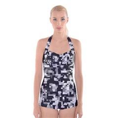 Noise Texture Graphics Generated Boyleg Halter Swimsuit