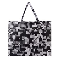 Noise Texture Graphics Generated Zipper Large Tote Bag