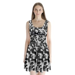 Noise Texture Graphics Generated Split Back Mini Dress