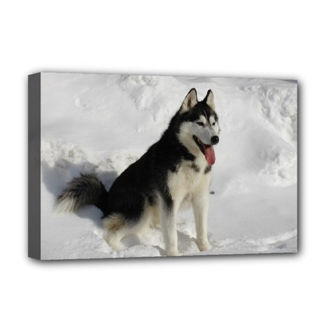 Siberian Husky Sitting in snow Deluxe Canvas 18  x 12
