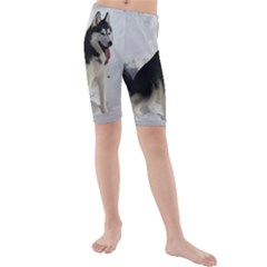 Siberian Husky Sitting in snow Kids  Mid Length Swim Shorts