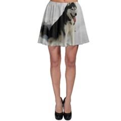 Siberian Husky Sitting in snow Skater Skirt