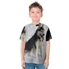 Siberian Husky Sitting in snow Kids  Cotton Tee