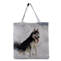 Siberian Husky Sitting in snow Grocery Tote Bag