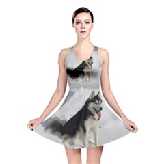 Siberian Husky Sitting in snow Reversible Skater Dress