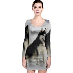 Siberian Husky Sitting in snow Long Sleeve Bodycon Dress