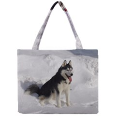 Siberian Husky Sitting in snow Mini Tote Bag