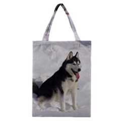 Siberian Husky Sitting in snow Classic Tote Bag
