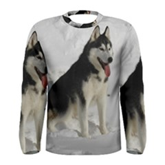Siberian Husky Sitting in snow Men s Long Sleeve Tee
