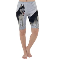 Siberian Husky Sitting in snow Cropped Leggings