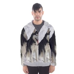Siberian Husky Sitting in snow Hooded Wind Breaker (Men)