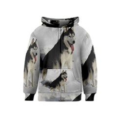 Siberian Husky Sitting in snow Kids  Zipper Hoodie