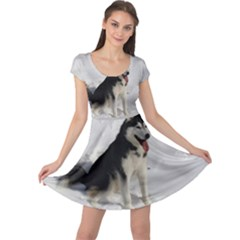 Siberian Husky Sitting in snow Cap Sleeve Dresses