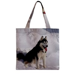 Siberian Husky Sitting in snow Zipper Grocery Tote Bag